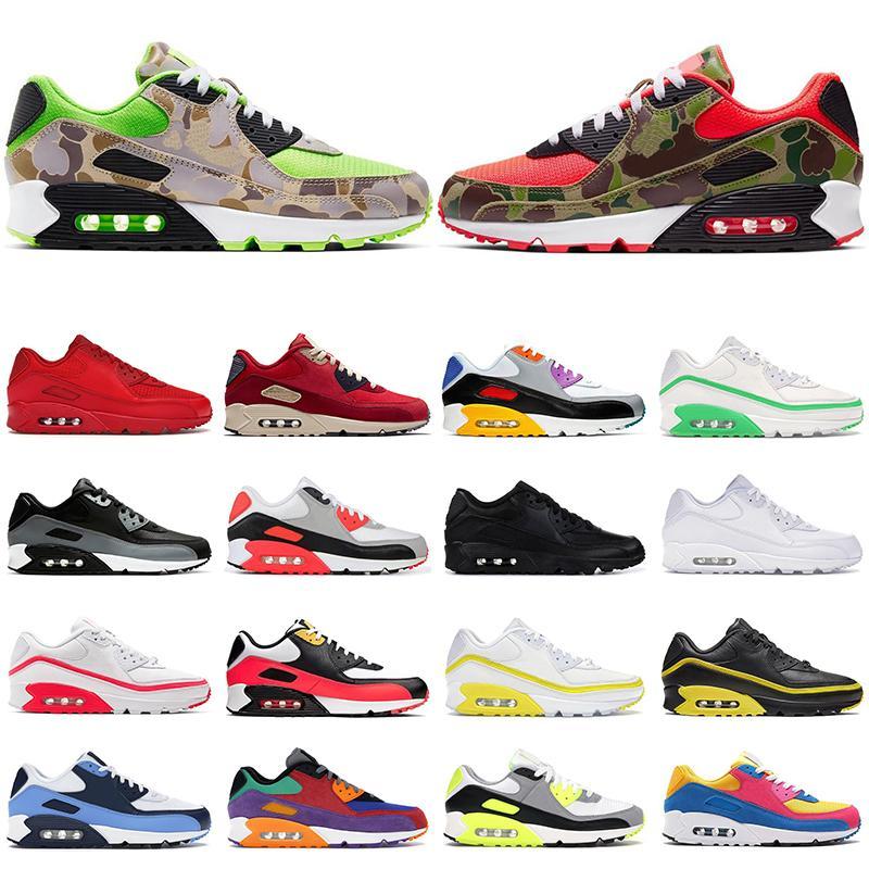 Nuevo nike air max 90 hombres zapatos para correr mujer entrenadores Reverse Duck Camo infrared University Red bred UNC Cool Grey hombres zapatillas deportivas transpirables