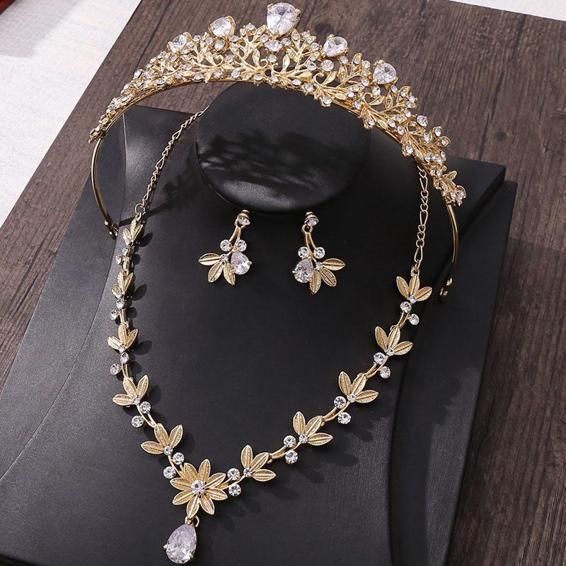 Wedding Jewelry Sets With Gift Box Bridal Jewelry Set For Wedding Golden Flower Zircon Bridal Crown Necklace Earring Hair Accessories
