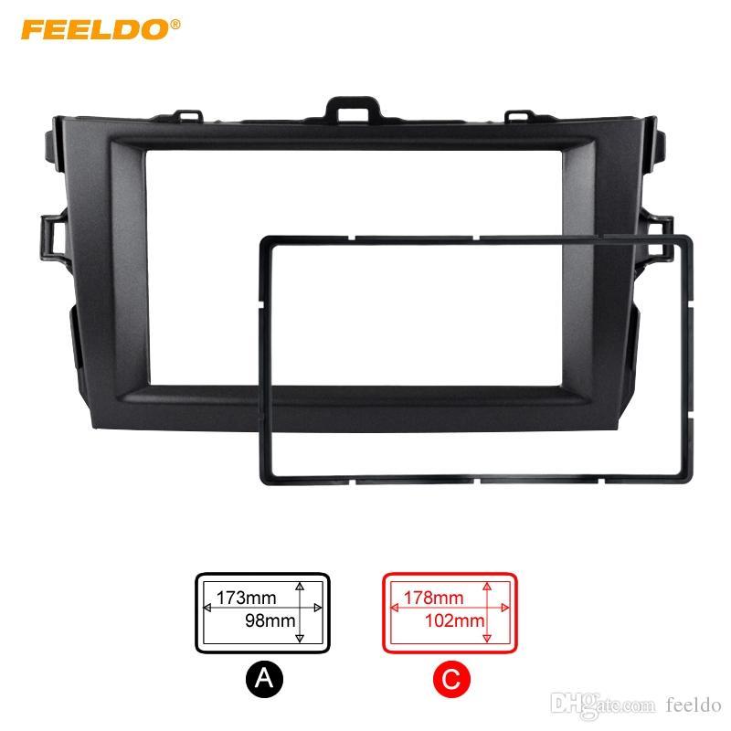 FEELDO Gray Car Refitting 2DIN Radio Stereo DVD Frame Fascia Dash Panel Kits de instalación para Toyota Corolla (08 ~ 10) # 2164