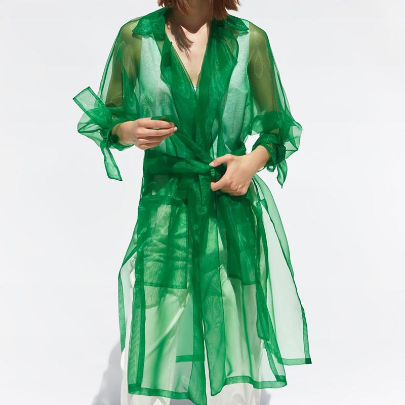 Transparent Organza Jacket Women Fashion Long Sleeve Jackets Coat Women Elegant Tailored Collar Jacket Female Ladies EU01