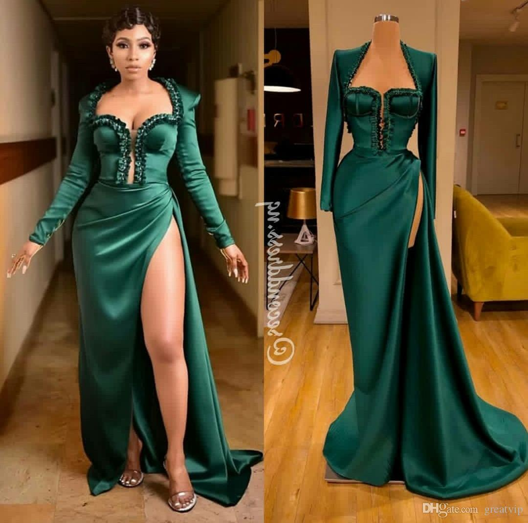 Plus Size Green Prom Dresses Sexy Thigh High Split Long Sleeve Evening Dresses Lace Appliques Satin Runway Fashion Gowns Ogstuff