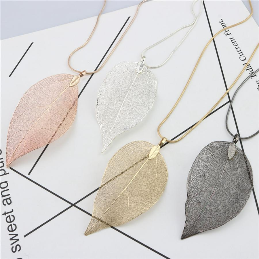 Fashion Leaf Jewelry Necklace Rose Gold Color Chain Real Leaf Charm Design Pendant Necklaces For Women Gift Party Favor RRA2282