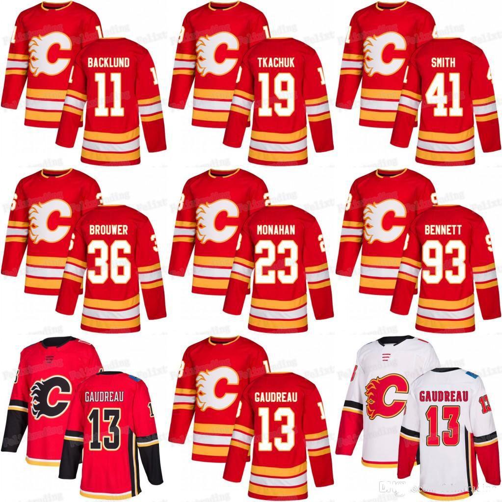 23 Sean Monahan NHL Third Calgary Flames Johnny Gaudreau James Neal Matthew Tkachuk Sam Bennett Troy Brouwer Mikael Backlund Hockey Jersey