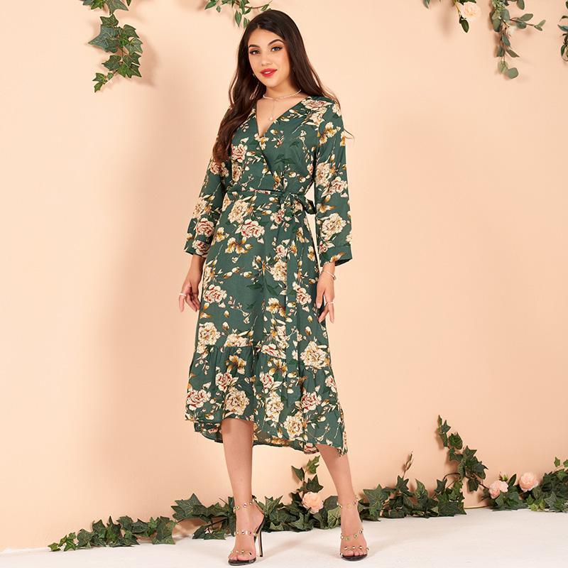 Новое для лета женщин V-образным вырезом Цветочные Tie Тонкий Плюс размер женского бизнеса OL Три четверти рукава чай платье S-XL