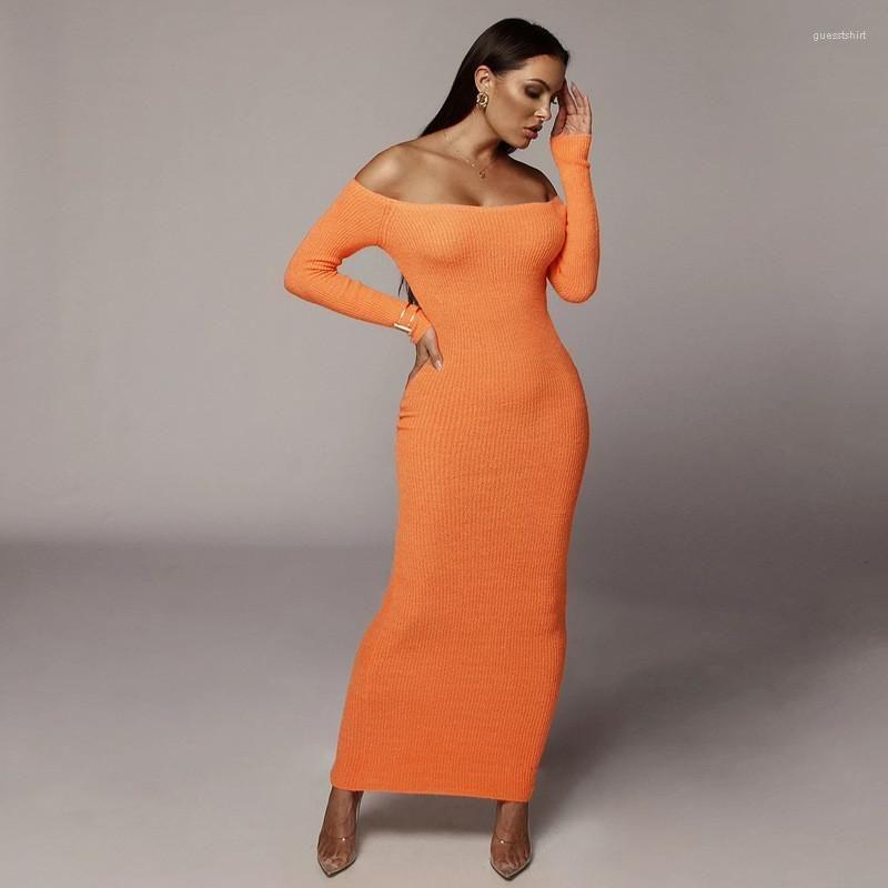 Sleeve Slash Neck Dress Night Club Female Clothing Apparel Womens Sweater Ankle Length Dress Long