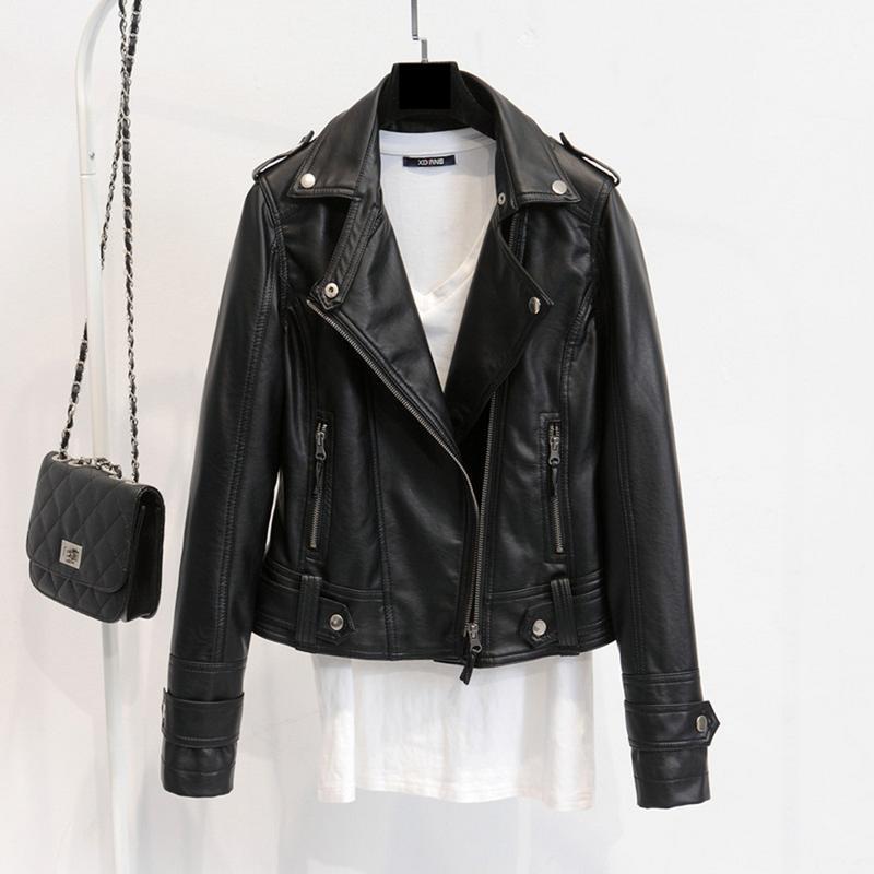 Fur Korean Spring And Autumn Versatile Small Jacket PU Leather Lapel Motorcycle Short Slim Lapel Motorcycle Jacket For Women