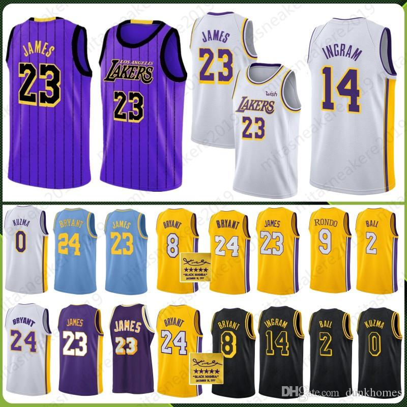 new product e28e1 8c18f 2019 James 23 LeBron Los Angeles 2019 New Season Men Youth Kids Jerseys  Lakers Kuzma 0 Kyle 2 Lonzo 14 Brandon Ball Ingram 24 Kobe 8 Bryant City  From ...