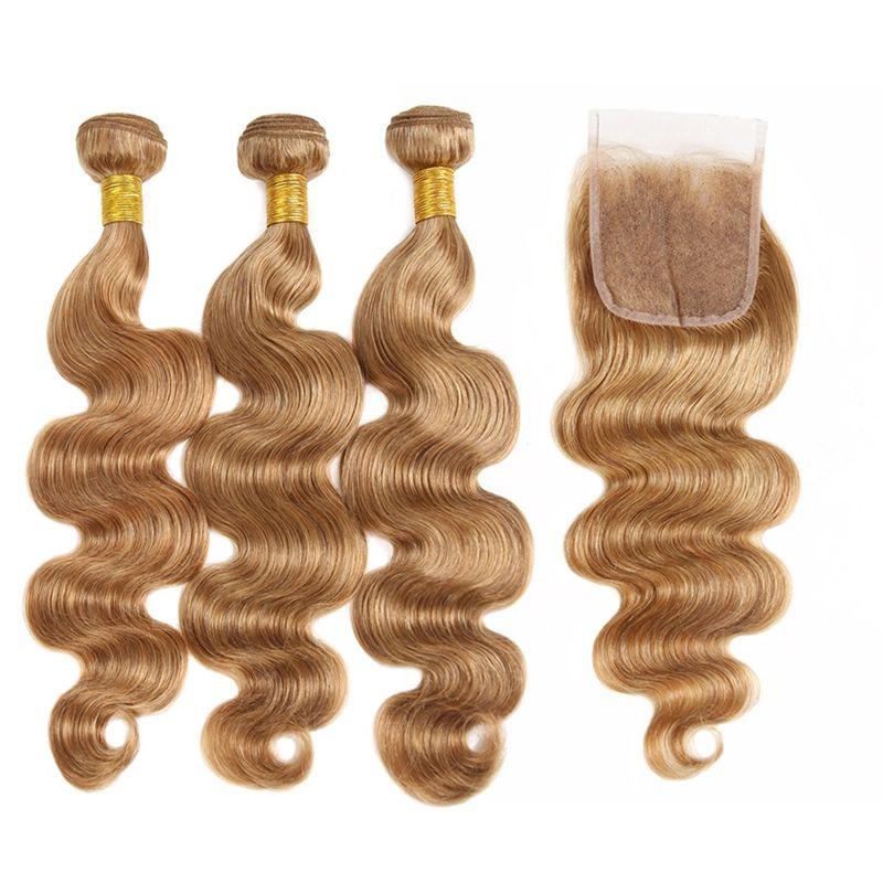T1B / 27 Ombre Droite Couleur Virgin Hair Extensions T1B / 30 Pérou Cheveux 3Bundles avec fermeture vague de corps humain Bundles cheveux avec fermeture
