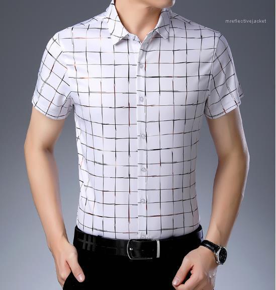 Hombre delgado diseñador Tamaño casual Camisa de tela escocesa de color sólido Mangas cortas para hombre Tops de ropa más polo gwsjr