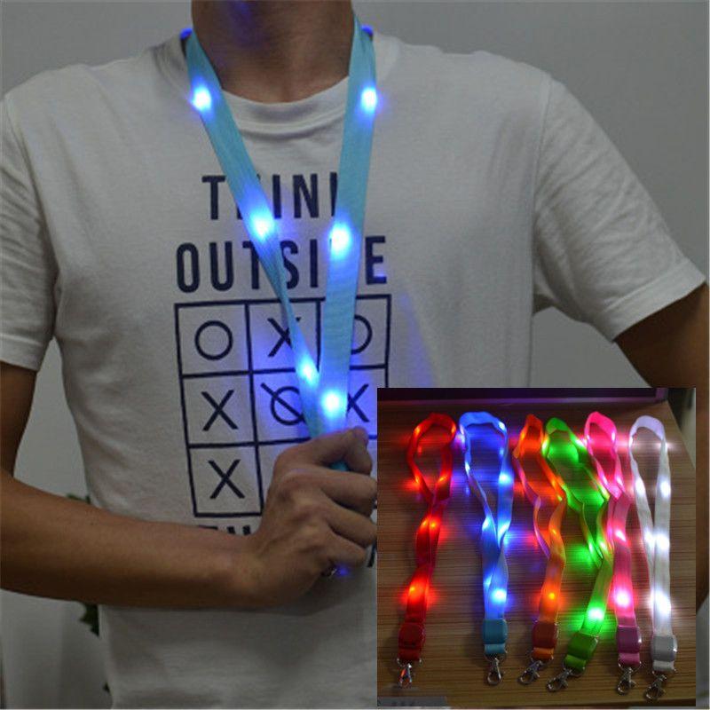 LED illumina in su chiave della cordicella della catena ID Tasti Titolare lampeggiante corda appesa striscia di luce cordino condotto certificato luce cordicella 7 colori