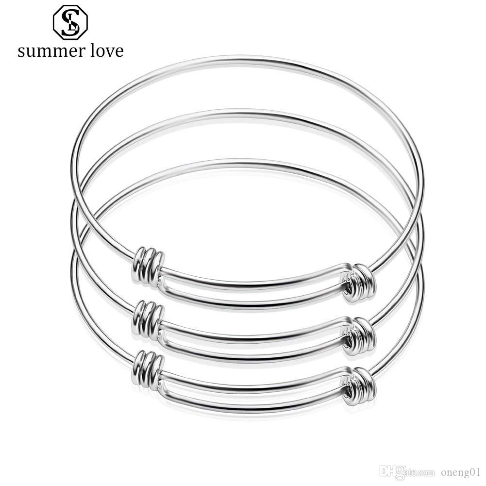Fine-Polish Stainless Steel Expandable Size Wire Bangle Bracelet for Women Men High Quality Adjustable Bangle Fit Beading Small Charm Diy