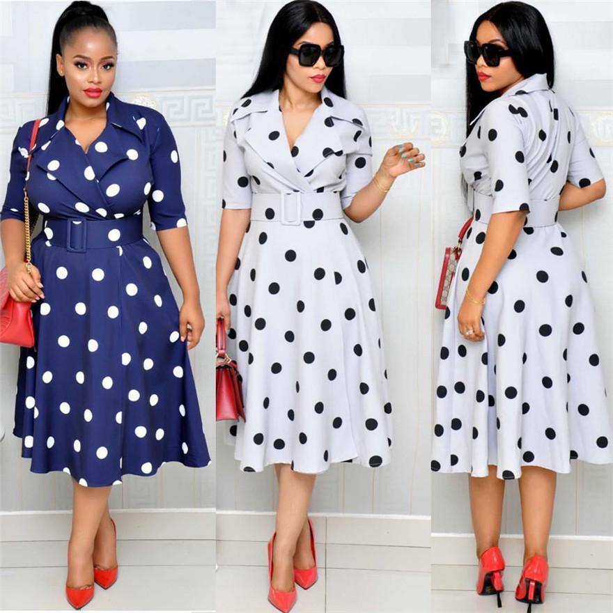 Designer-Tupfen-Patchwork-Kleid der beiläufigen Frauen Pullover Kleidung Mode Damen Kleid