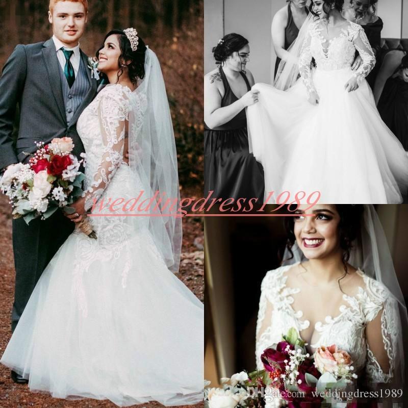Урожай с длинным рукавом кружева 2019 русалка свадебные платья иллюзия Vestido de novia африканских плюс размер платье невесты арабское свадебное платье на заказ