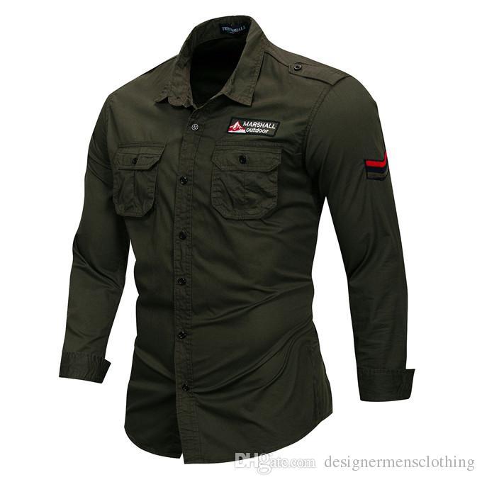 Вышивка С Длинным Рукавом Открытый Мужчины Повседневные Рубашки Лацкан Шеи Армейский Зеленый Плюс Размер Мужские Рубашки С Карманами