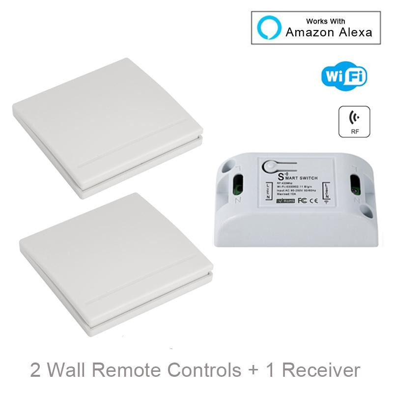 emote Controls QIACHIP Wifi Wireless Wall Light Switch Smart Home 433Mhz RF Remote Control Receiver Led Lamp Switch Work With Amazon Alex...