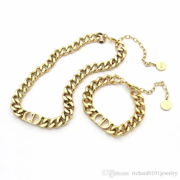 Luxus-Designer-Schmuck Frauen Halskette Gold-dicke Kette Halskette mit dem Buchstaben D Edelstahl Armband und Halskette Sets Modekette