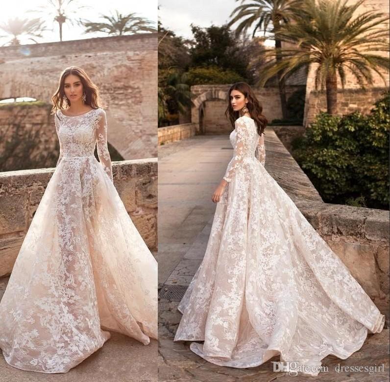 2020 Bohemian Long Sleeve Lace Wedding Dresses A Line Beach Bridal Gown Sweep Train Robe de Mariee Vestido BC2672