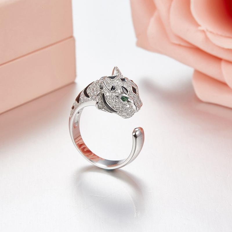 Твердая 925 Sterling Silver Green Eyes Leopard манжеты палец кольца Асфальтовой Циркон Panther животные кольцо Женщина Свадьбы ювелирные изделия