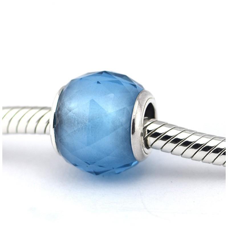Yeni% 100 Gerçek Kadınlar İçin 925 Gümüş Konu Delik Geometrik Faceted açacağı Kristal Charm Boncuk Pan Charm Bilezikler Diy Mücevher uyar