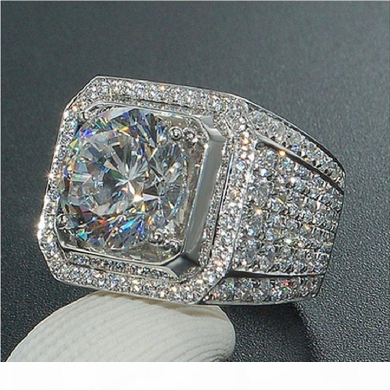 새로운 패션 남성 결혼 반지 보석 높은 품질 여자의 보석 약혼 반지 시뮬레이션 다이아몬드 실버 반지
