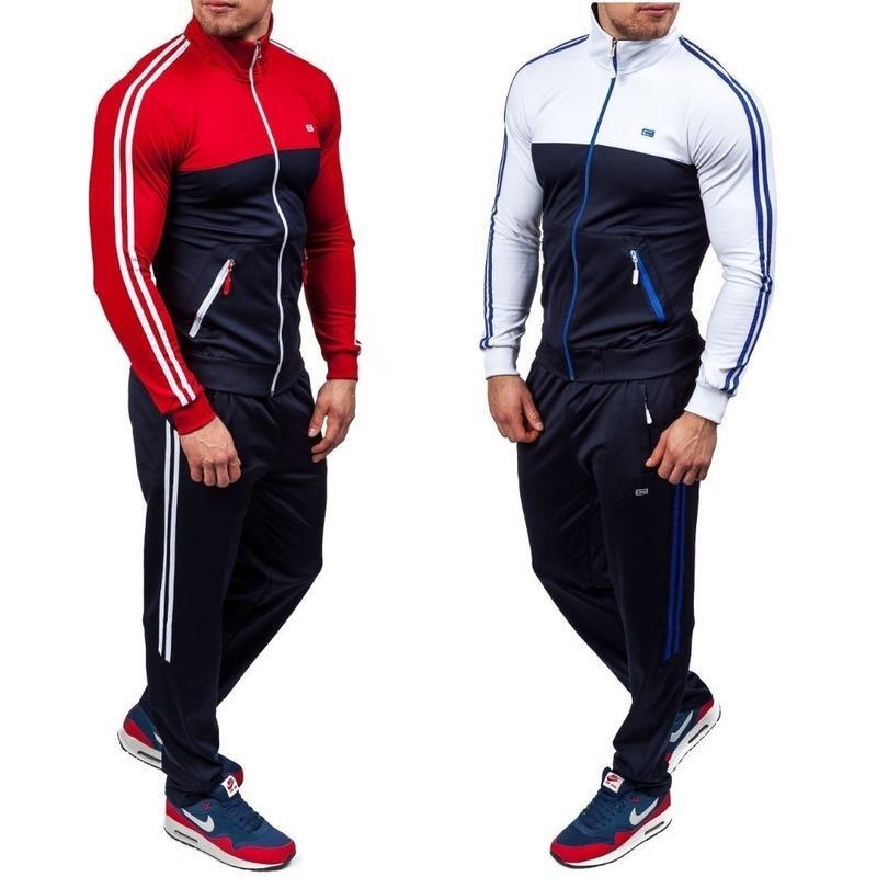 2 adet Eşofman Erkekler Sonbahar Kış Fermuar Kazak + Elastik Pantolon Erkek Çizgili Patchwork Slim Fit eşofman Soğuk ayarlar