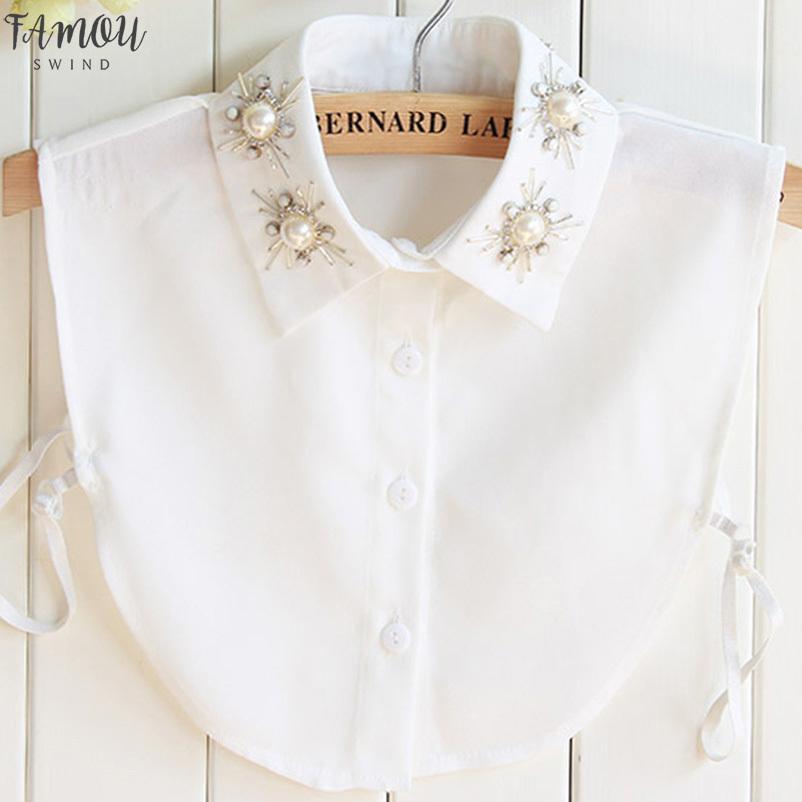 La collana di cristallo della maglia camicetta Perle ricamo accessori Vintage chiffon Spear modo delle signore pigiami camicia Solid Collar
