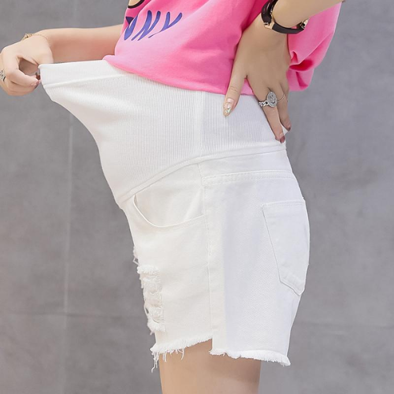 1981# Summer Thin White Black Denim Maternity SHorts Ripped Hole Casual Shorts Clothes for Pregnant Women Pregnancy Short Jeans