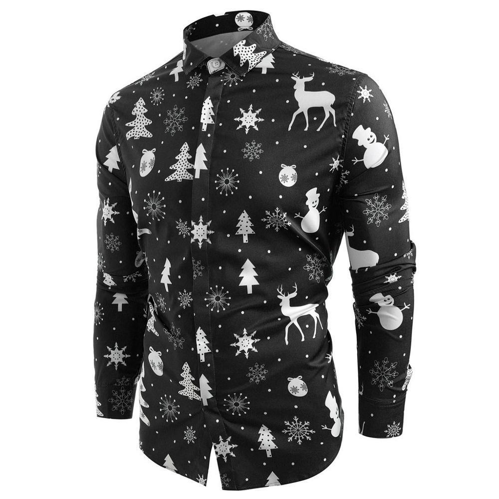 Les hommes de Noël T-shirt Chemise homme Snowflakes manches longues Cerfs Imprimer Casual Chemise cintrée hommes d'hiver Streetwear Camisa Masculina