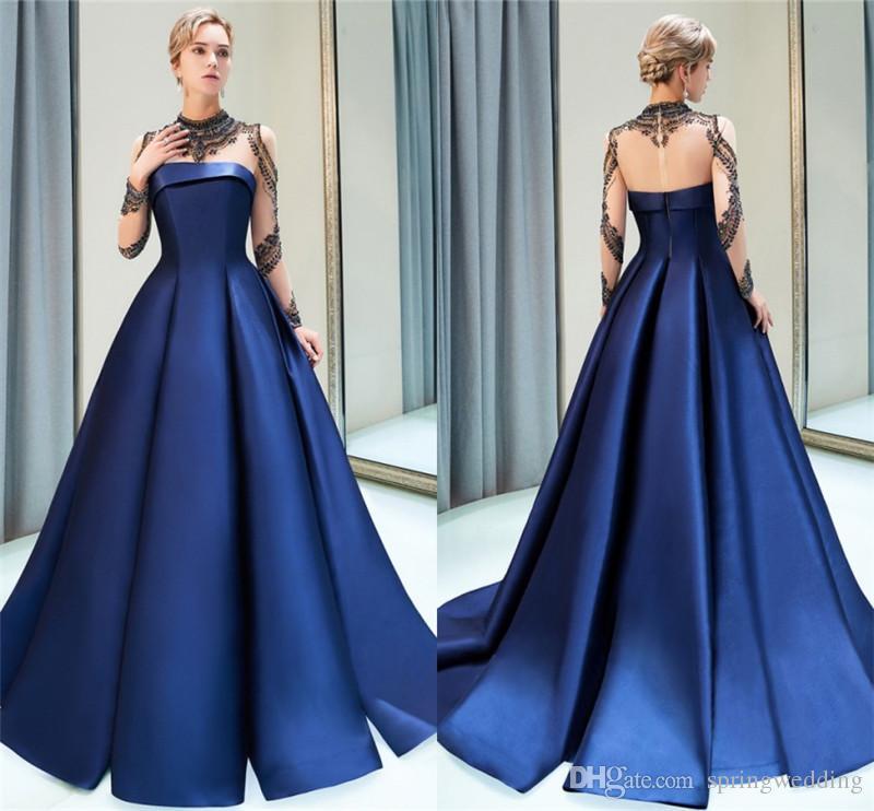 Compre 2019 Nueva Azul Marino Elegante Noche Vestidos De Fiesta Sheer Mangas Largas Listones Volantes Largo Celebrity Vestido Formal Cps1160 A 20129