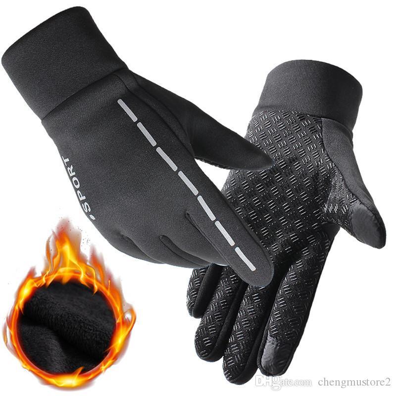 Hot Running Gloves Waterproof Men Women Ladies Warm Fleece Winter Run Gloves Outdoor Sport Touch Screen Fitness Hiking Gloves