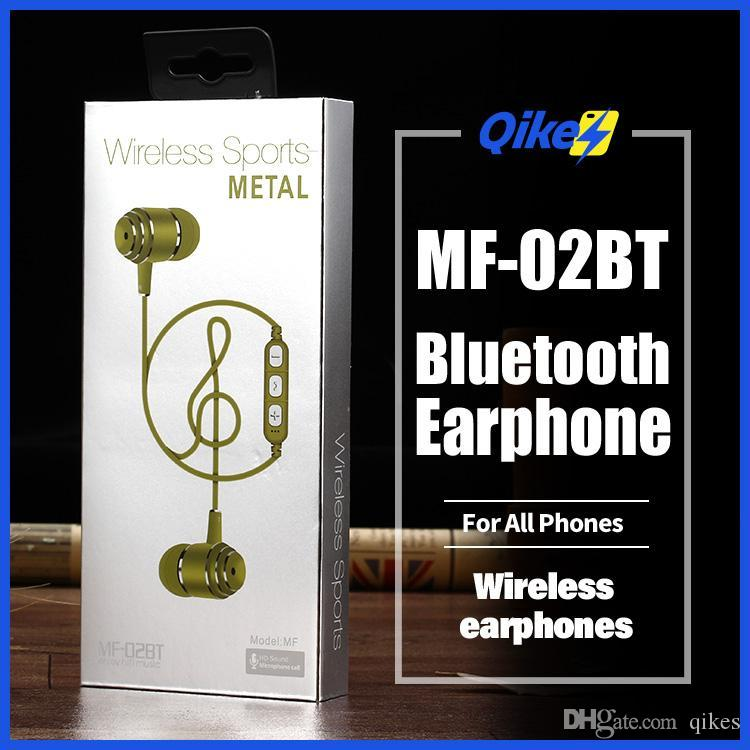 MF02BT Bluetooth Earphone Neckband Magnetic Wireless earphones Stereo Earbuds With Mic For All Phones whit TF memory card slot