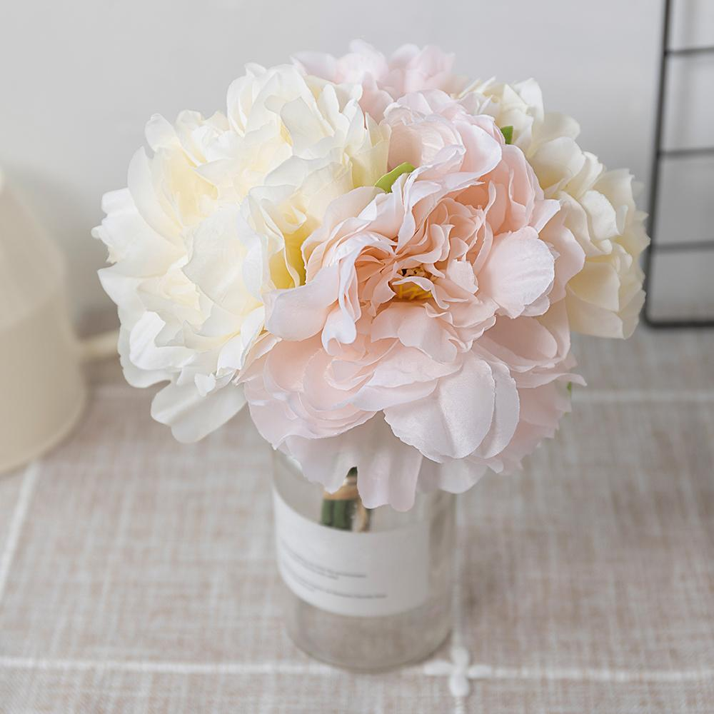 12pcs de seda hermosa peonía flores artificiales Ramo grande blanco de imitación falso hogar de la flor del banquete de boda de la decoración DIY Organizar Azul