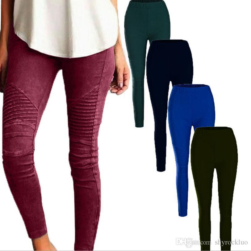 2019 neue Art und Weise der Frauen beiläufige Hosen 10 Farben Freizeit dünne Bleistift-Hosen feste elastische Hosen-beiläufige Hosen Damenmode S-5XL Plus Size