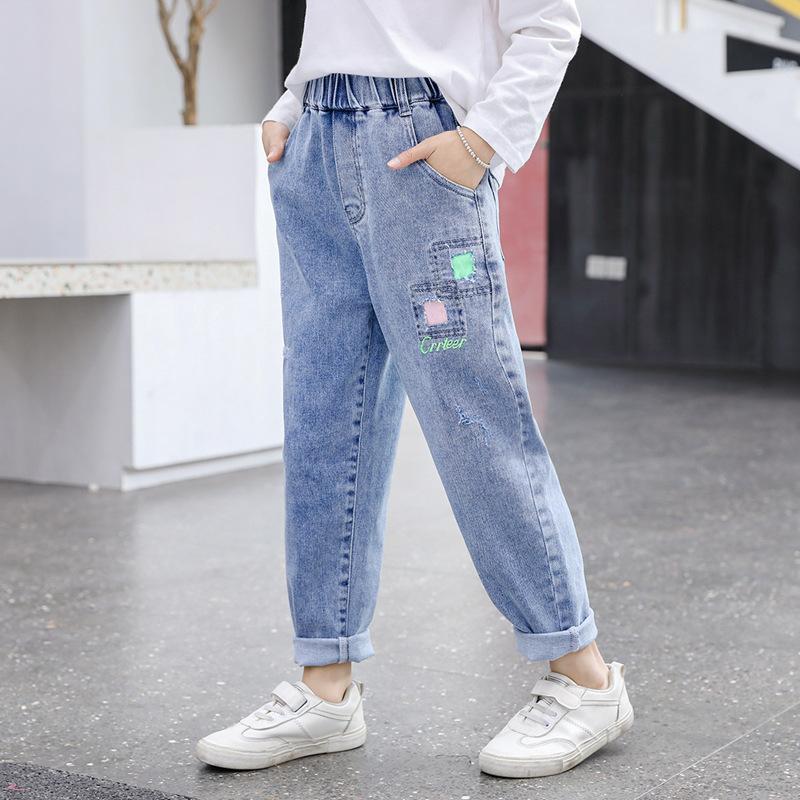 Compre Jeans Para Ninas Pantalones Moda Kid Flojo Del Dril De Algodon De Los Pantalones Vaqueros De Las Muchachas Del Otono Del Resorte De Muy Buen Gusto Hijos Adolescentes Ropa De La