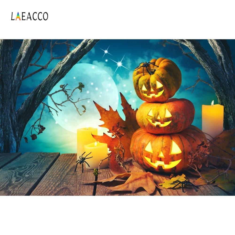 Fundos Fotografia Laeacco Lua Noite Old árvore abóbora Lâmpadas Madeira Pavimento Halloween Backdrops vinil personalizadas Para Foto