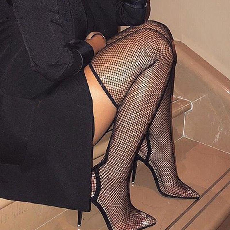 Frauensockenstiefel Mesh High Heels Mid Calf Boot Hollow Speed Toe Booties Damen Sexy über dem Knie Damen Stiefel. Xz-005.