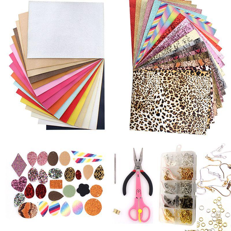 2020 Couro Brinco Fazendo Kit 24 peças do falso folhas de couro com suprimentos completos DIY para fazer brincos / Arcos Cabelo / Couro Artesanato B9F