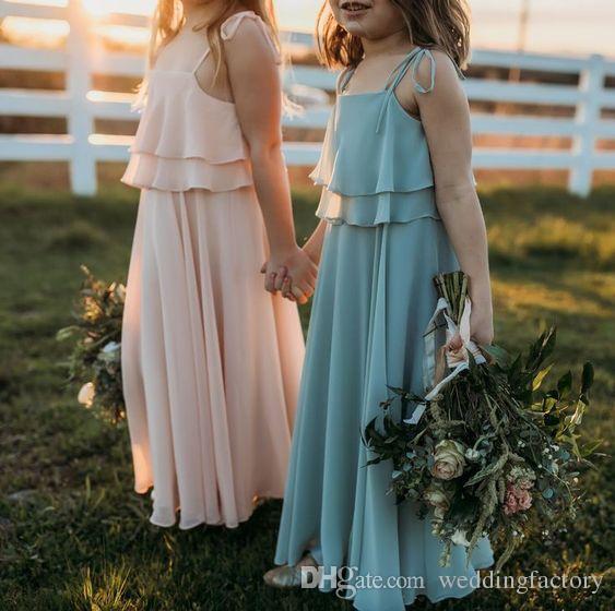 Stunning Flowergirl Dresses Bohemian Beach Garden Chiffon Flower Girl Dress Floor Length Kids Formal Gowns for Wedding Custom Made