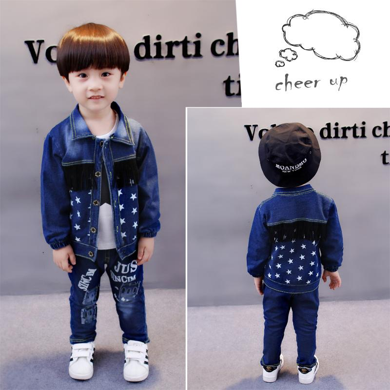Criança do bebê Roupas Sport Suit Kids Clothing Set algodão Boy Clothes Denim Jeans Brasão T-shirt calças 3PCS Estrela Treino Crianças