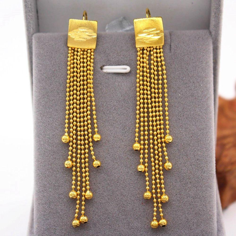 Lungo nappa perline ciondola gli orecchini oro giallo 18K ha riempito di gioielli da sposa di moda della signora sexy del partito degli accessori