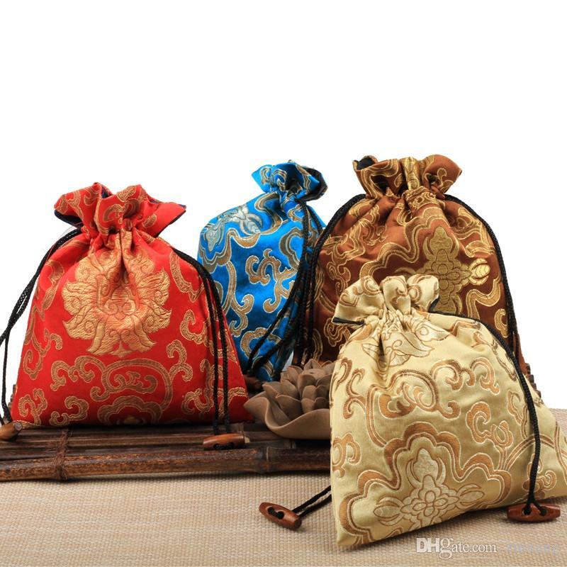 10pcs Jacquard Fleur chinoise brocart de soie Pochette cadeau Sacs à cordonnet grande fête de Noël de mariage Sacs Favor tissu d'emballage Sacs