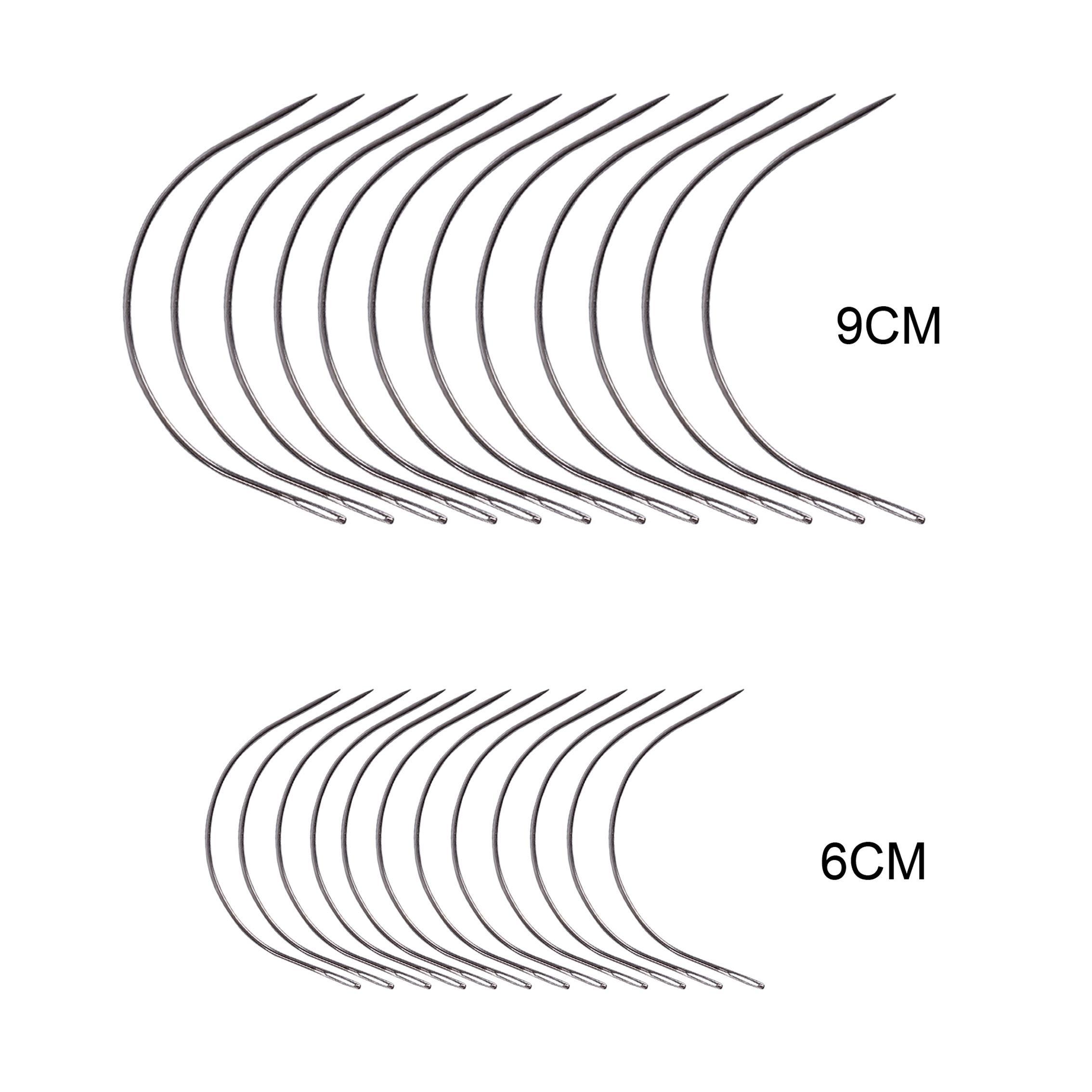 Saç dokuma iğne Havalandırma iğneleri 24 adet / torba Büyük 9cm 6cm C Şekli Kavisli İğneler Peruk yapma tığ örgüler Hook