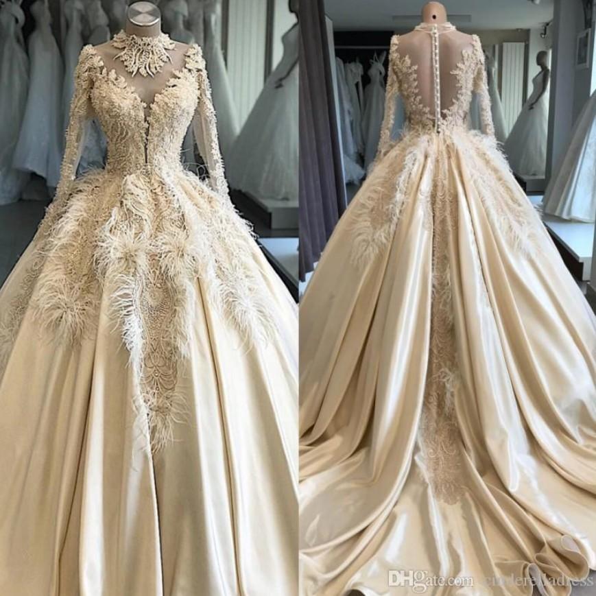 Elegant Luxury Customized Lace Feathers Beading Wedding Dresses 2020 Vintage Illusion Wedding Gowns Court Train Bridal Dress Robe De Mariee