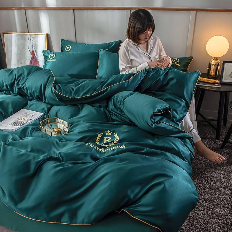 4 Stück Bedding Bettwäsche Super Soft Bequeme Stickerei gewaschener Seide Heimtextilien, Grün, Rot