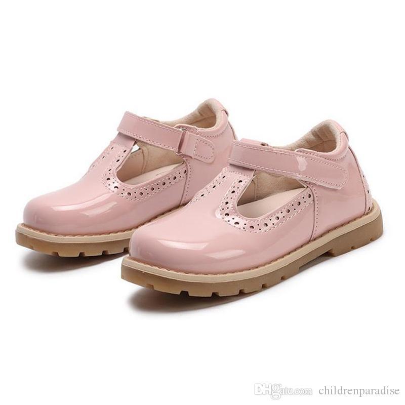 Çocuklar Ayakkabı Prenses Kızlar Okul Ayakkabı Kırmızı Pembe Siyah Çocuk Deri Parti Elbise Düz Küçük Kızlar Ayakkabı Bebek Rahat Sneaker