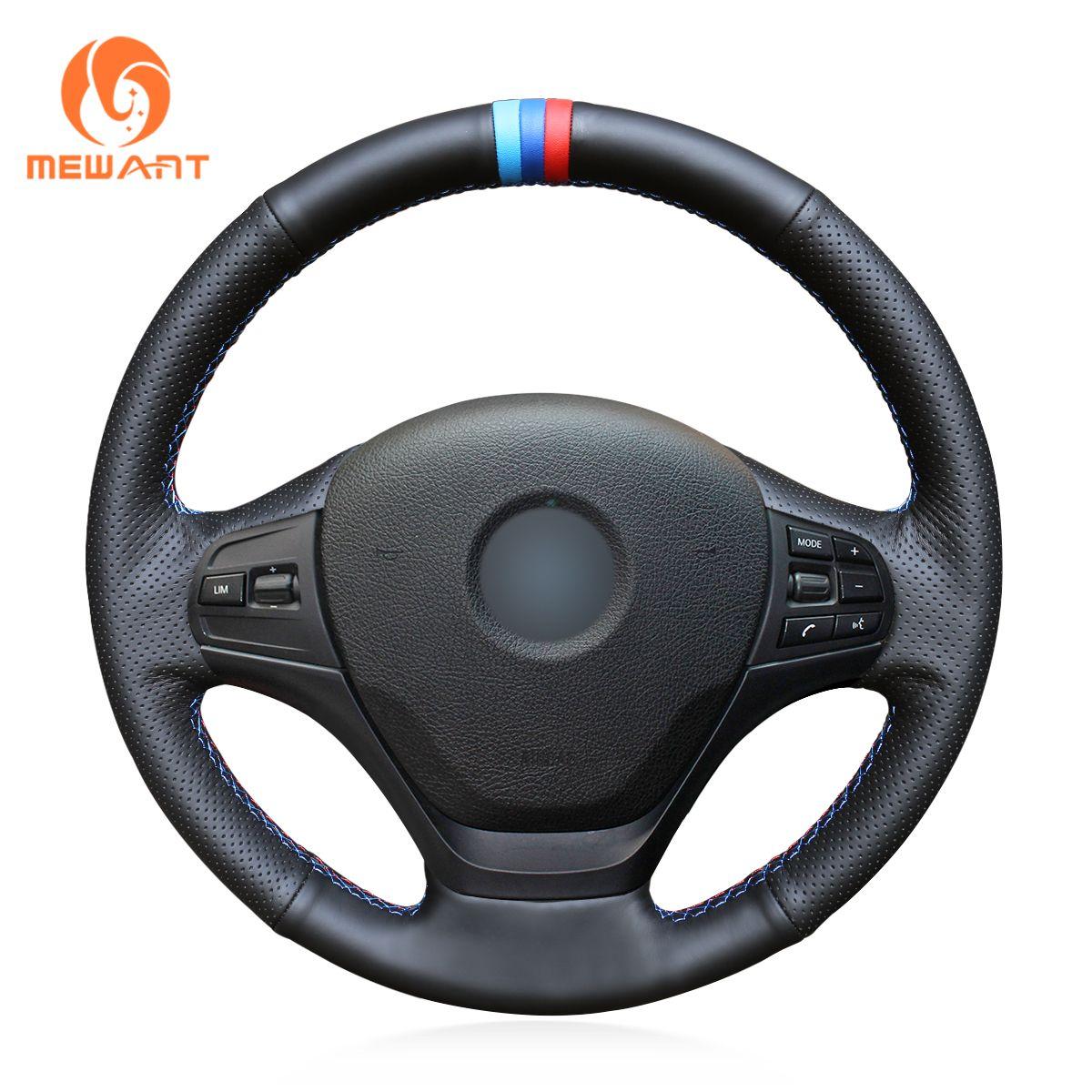 MEWANT Black Genuine Leather Hand Sew Car Steering Wheel Cover for BMW F30 316i 320i 328i
