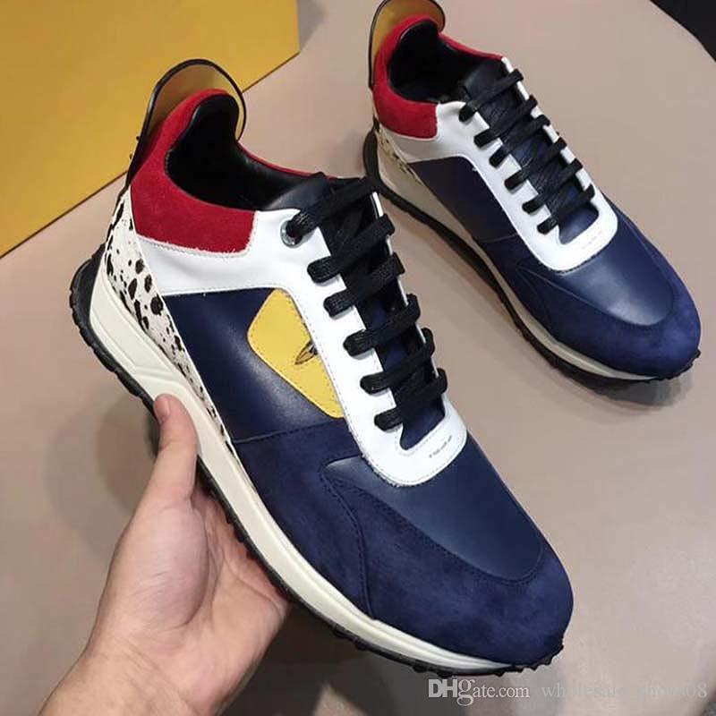 2020 couro reais sapatos tênis homens sapatos casuais monstro Laço-Acima sapatos da moda 38-44 Vc7