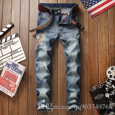 2020 Marken-Entwerfer Slim Fit zerrissenen Jeans-Männer Hallo Straße Hip-Hop-Herren-Hosen Denim Jogger Hosen Knie Löcher 28-38 Gewaschene