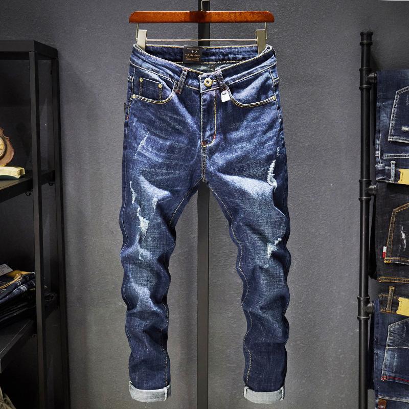 As quatro estações Jeans Men Denim Buraco Bleached Magro Casual afligido vintage Lavados lápis calças sólida Comprimento Cor Cowboy completa