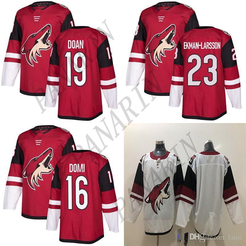 Phoenix arizona coiotes costurados mens 81 phil kessel 16 max domi jersey 23 Oliver Ekman-Larsson vermelho branco em branco respirável hockey jerseys